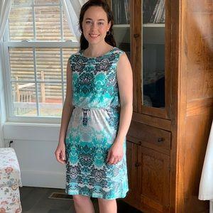 Emma & Michele Aqua/White Stretch Pullover Dress,S